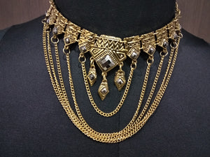 Tiptop Fashions  White Stone Antique Gold Statement Necklace  -  1110762a