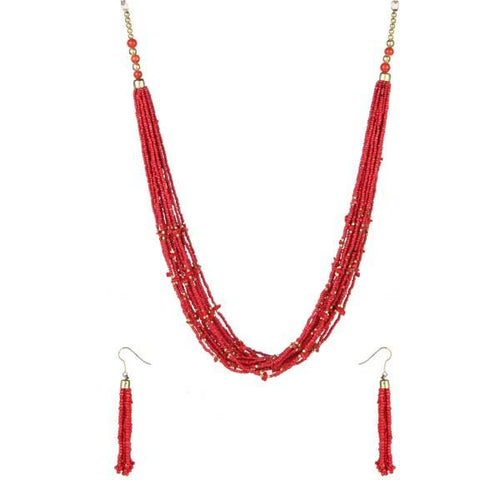 Tiptop Fashions  Maroon Beads Statement Necklace Set  -  Imitation Jewellery - 1111602a - 11116