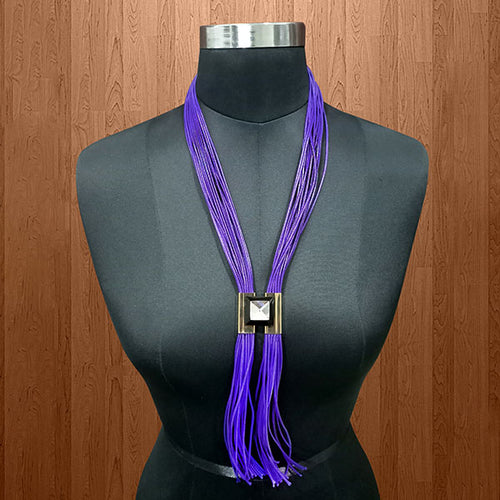 Purple Hanging Lace Statement Necklace -1111710B