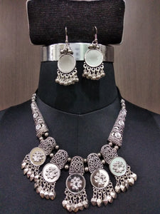 Tip Top Fashions Mirror Navratri Necklace Set - 1112830
