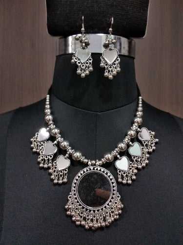 Tip Top Fashions Rhodium Plated Navratri  Necklace Set - 1112887