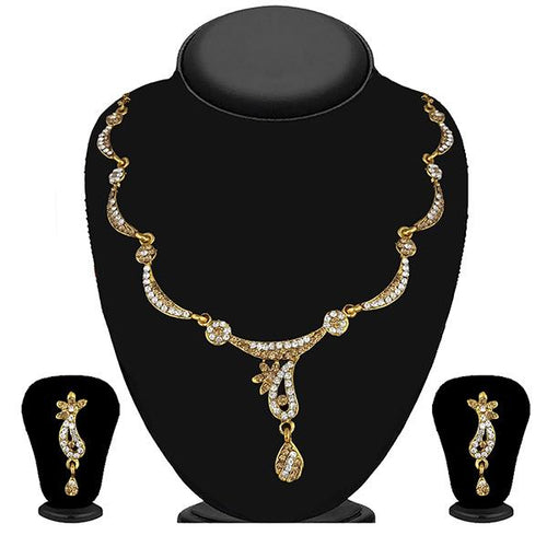 Tip Top Fashions Gold Plated Brown Austrian Stone Necklace Set - 1114723A
