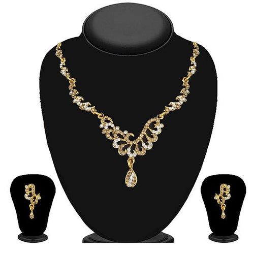 Tip Top Fashions Gold Plated Brown Austrian Stone Necklace Set - 1114724A