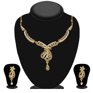 Tip Top Fashions Gold Plated Brown Austrian Stone Necklace Set - 1114727A