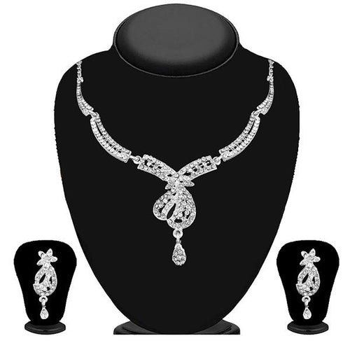 Tip Top Fashions Gold Plated White Austrian Stone Necklace Set - 1114727B