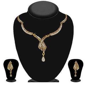Tip Top Fashions Gold Plated Brown Austrian Stone Necklace Set - 1114728A