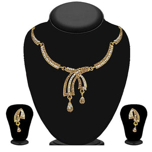 Tip Top Fashions Gold Plated Brown Austrian Stone Necklace Set - 1114730A