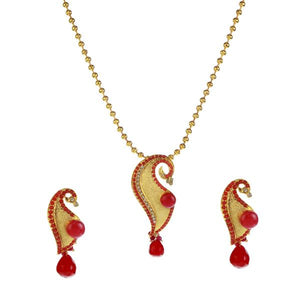 Tip Top Fashions Gold Plated Austrian Stone Pendant Set - 1200127