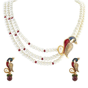 Tiptop Fashions  Red Austrian Stone Peacock Pearl Pendant Set  -  Imitation Jewellery - 1200131 - 12001