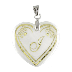 "Tiptop Fashions Alphabet J"" Heart Shaped Shell Pendant - 1201009"