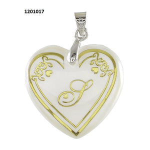 "Tiptop Fashions  Alphabet S"" Heart Shaped Shell Pendant  - 1201017"