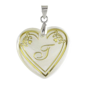 "Tip Top Fashions Alphabet ""j"" Heart Shaped Shell Pendant - 1201018"