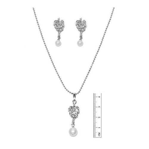 Tiptop Fashions  Silver Plated Austrian Stone Pendant Set  -  Imitation Jewellery - 1201118 - 12011