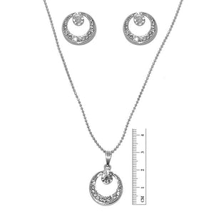 Tiptop Fashions  Austrian Stone Rhodium Round Plated Pendant Set  -  Imitation Jewellery - 1201123 - 12011
