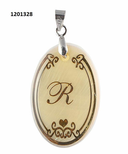 Tiptop Fashions  R Alphabet Oval Shaped Shell Pendant  -   1201328