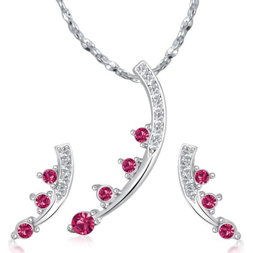 Tiptop Fashions  Pink Austrian Stone Silver Plated Pendant Set  -  Imitation Jewellery - 1202016 - 12020