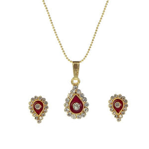 Tiptop Fashions  Gold Plated Austrian Stone Pendant Set  -  Imitation Jewellery - 1202029 - 12020