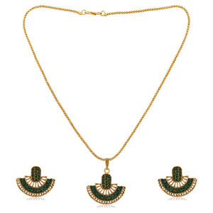 Tiptop Fashions  Green Austrian Stone Gold Plated Pendant Set  -  Imitation Jewellery - 1202327c - 12023