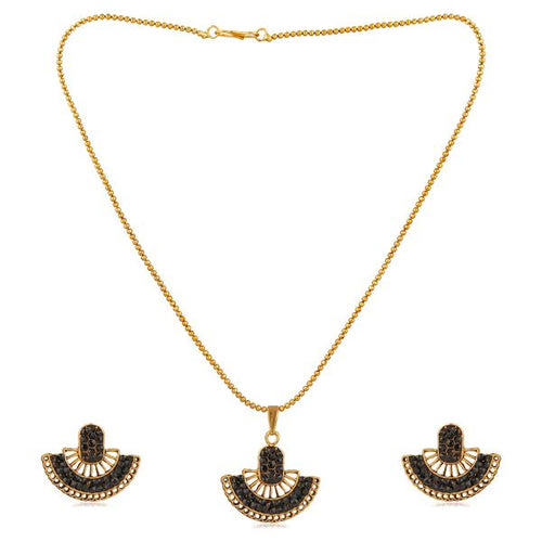 Tiptop Fashions  Black Austrian Stone Gold Plated Pendant Set  -  Imitation Jewellery - 1202327f - 12023