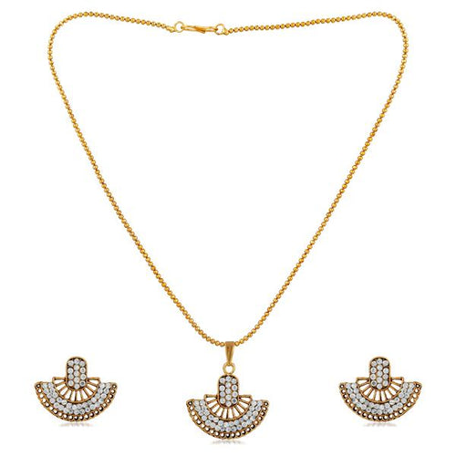 Tiptop Fashions  White Austrian Gold Plated Pendant Set  -  Imitation Jewellery - 1202327i - 12023
