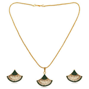 Tiptop Fashions  Green Austrian Stone Gold Plated Pendant Set  -  Imitation Jewellery - 1202328a - 12023