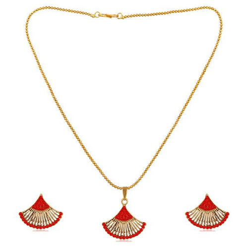 Tiptop Fashions  Gold Plated Red Austrian Stone Pendant Set  -  Imitation Jewellery - 1202328e - 12023