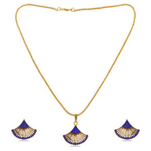 Tiptop Fashions  Blue Austrian Stone Gold Plated Pendant Set  -  Imitation Jewellery - 1202328h - 12023