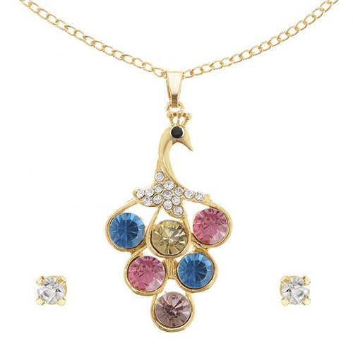 Tip Top Fashions Multi Stone Gold Plated Peacock Design Chain Pendant Set - 1202509