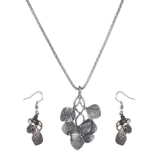 Tip Top Fashions Black Oxidised Plated Chain Pendant Set - 1202520