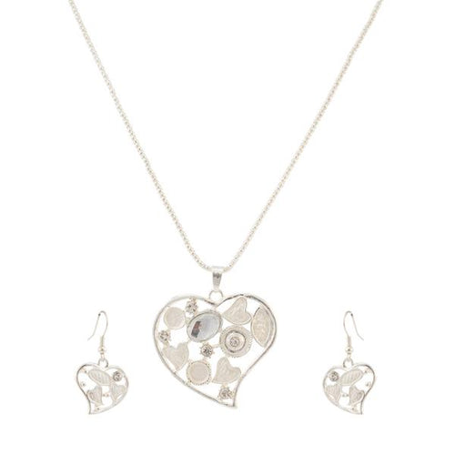 Tiptop Fashions  Austrian Stone Heart Shape Silver Plated Pendant Set  -  Imitation Jewellery - 1202524 - 12025