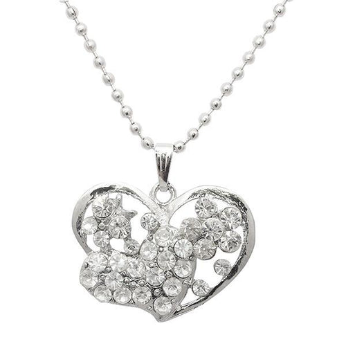 Tip Top Fashions Austrian Stone Heart Shape Chain Pendant - 1202533