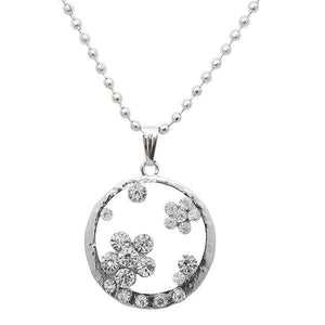Tip Top Fashions Rhodium Plated Austrian Stone Chain Pendant - 1202536