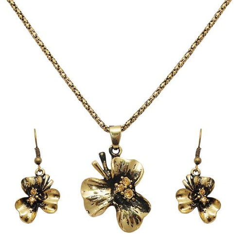 Tiptop Fashions  Floral Shaped Gold Plated Pendant Sets  -  Imitation Jewellery - 1202544 - 12025