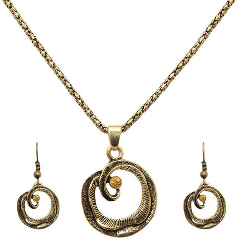 Tiptop Fashions  Round Shaped Gold Plated Pendant Sets  -  Imitation Jewellery - 1202545 - 12025