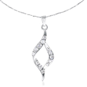 Tiptop Fashions  Rhodium Plated Austrian Stone Chain Pendant  -  Imitation Jewellery - 1202612 - 12026
