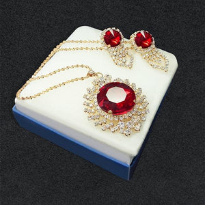 Tiptop Fashions  Red Austrian Stone Pendant Set 1202813