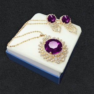 Tiptop Fashions  Purple Austrian Stone Pendant Set  1202814