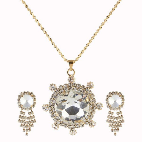 Tiptop Fashions  White Austrian Stone Gold Plated Pendant Set  -  Imitation Jewellery - 1202930 - 12029