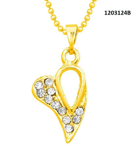 Tiptop Fashions  Austrian Stone Heart Shape Chain Pendant  -  Imitation Jewellery - 1203124b - 12031