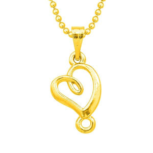 Tip Top Fashions Heart Design Gold Plated Chain Pendant - 1203141B