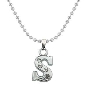 "Tiptop Fashions Rhodium Plated "" S "" Alphabet Chain Pendant - 1203171"