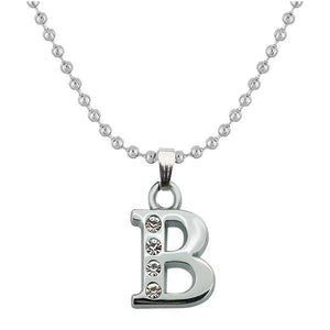 "Tiptop Fashions Rhodium Plated "" B "" Alphabet Chain Pendant - 1203172"