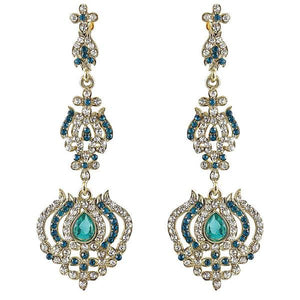 Tiptop Fashions  Blue Austrian Stone Gold Plated Dangler Earrings  -  Imitation Jewellery - 1302027 - 13020