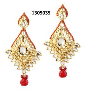 Tiptop Fashions  Gold Plated Kundan Dangler Earrings - Tiptop Fashions