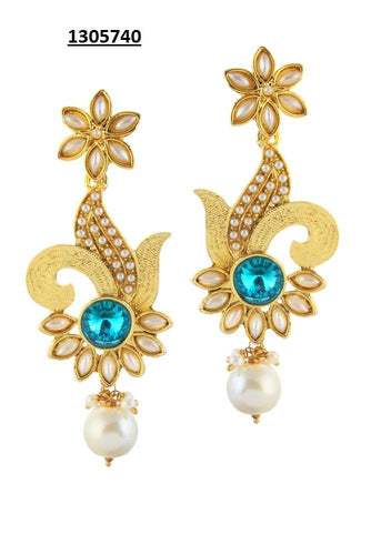 Tiptop Fashions  Blue Austrian Stone Gold Plated Dangler Earrings - Tiptop Fashions