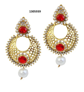 Tiptop Fashions  Austrian Stone Pearl Drop Gold Plated Chandbali Earrings - Tiptop Fashions
