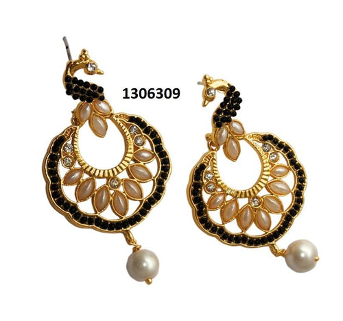 Tiptop Fashions  Black Stone Gold Plated Dangler Peacock Earrings - Tiptop Fashions