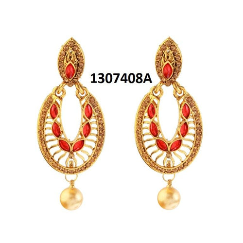 Tiptop Fashions  Kundan Pearl Drop Gold Plated Dangler Earring - Tiptop Fashions