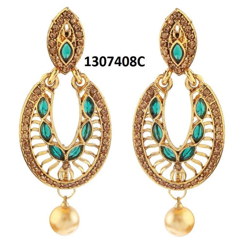 Tiptop Fashions  Gold Plated Green Stone Dangler Earrings  -  Imitation Jewellery - 1307408c - 13074
