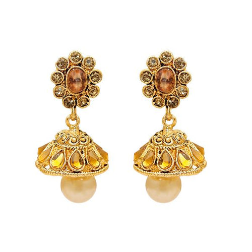 Tiptop Fashions  Gold Plated Austrian Stone Kundan Jhumki Earrings - Tiptop Fashions